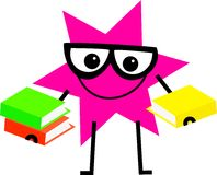 Clever star. Funny cartoon star shape wearing spectacles and carrying books Stock Photography