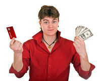 Clever strong man with money. Stock Images