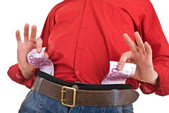Clever strong man with money. Royalty Free Stock Photography