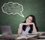 Clever student learns foreign language Royalty Free Stock Photo