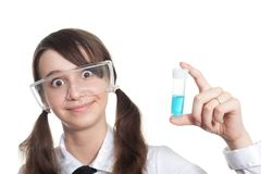 Clever student with test tube Royalty Free Stock Photo