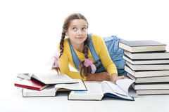 Clever teenager girl with books Royalty Free Stock Photo