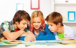 Clever teens working on homework project Royalty Free Stock Image