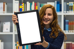 Clever University Student Holding White Isolated Tablet Academic Stock Photo