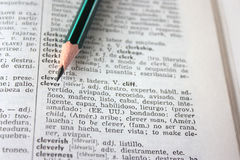 'clever' word in English-Spanish dictionary Royalty Free Stock Image