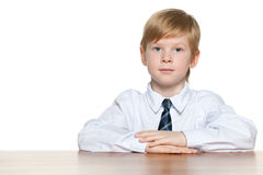 Clever young boy is sitting at the desk Stock Photography