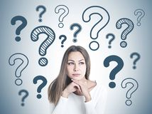 Clever young businesswoman thinking many questions royalty free illustration
