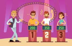 Clever young people playing quiz game show. Cartoon vector illustration. Tv competition people intelligent and educational Stock Image