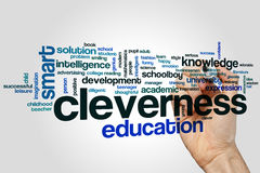 Cleverness word cloud concept on grey background Royalty Free Stock Images
