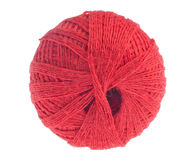 Clew of red thread isolated on white Royalty Free Stock Photo
