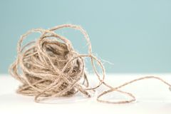 Clew of rope. On table stock image