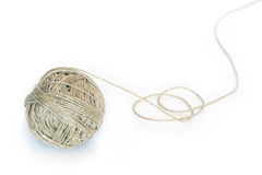 Clew Of Twine. Rustic looking clew of twine isolated on white stock photography