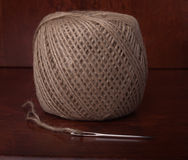 Clew of Twine and Needle Royalty Free Stock Image
