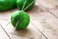 Clew of yarn with needles Royalty Free Stock Photo