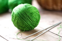 Clew of yarn with needles Stock Image