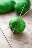 Clew of yarn with needles Stock Photo