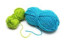 Clews of blue and green wool threads for knitting Stock Image