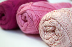 Clews of pink cotton yarn Royalty Free Stock Images
