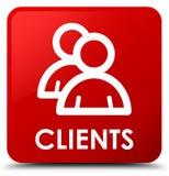 Cliënten (groepspictogram) rode vierkante knoop Royalty-vrije Stock Afbeelding