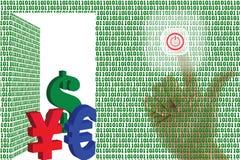 Clic de technologie ouvert et argent reçu. Images libres de droits
