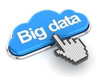 Clicando uns dados grandes dados forma nuvem abotoam-se, 3d rendem Fotos de Stock
