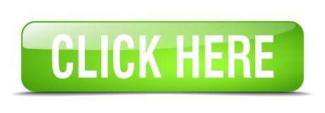 Clicchi qui il bottone di web isolato quadrato verde Fotografia Stock Libera da Diritti
