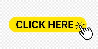 Clicchi qui il bottone di web di vettore Affare isolato del sito Web o registrare l'icona gialla della barra con il dito della ma royalty illustrazione gratis