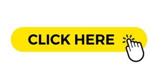 Clicchi qui la barra gialla del modello del bottone di web di vettore con il cursore di clic del dito della mano illustrazione vettoriale