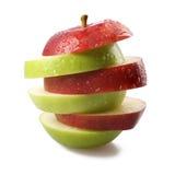 Clices rojos y verdes de la manzana Imágenes de archivo libres de regalías