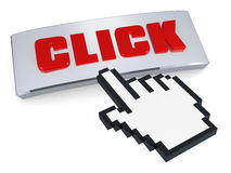 Click button and hand pointer. Hand pointer over click button,  on white background Stock Photo