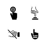Click the button. Simple Related Vector Icons. Set for Video, Mobile Apps, Web Sites, Print Projects and Your Design. Black Flat Illustration on White Royalty Free Stock Images