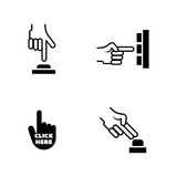 Click the button. Simple Related Vector Icons. Set for Video, Mobile Apps, Web Sites, Print Projects and Your Design. Black Flat Illustration on White Stock Images