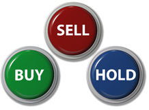 Click BUY SELL HOLD financial buttons. Click on BUY SELL HOLD buttons stock investment icons for your financial website Stock Images