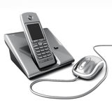 Click or call contact us concept. Computer mouse with telephone. 3d image Stock Image