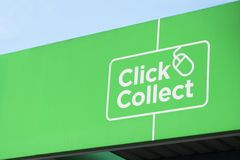 Click collect online shopping shop mall quick easy green sign stock photo