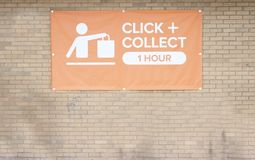 Click and collect sign online buying made easy at shop store mall superstore to reduce time and effort royalty free stock image