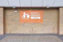 Click and collect sign online buying made easy at shop store mall superstore. Uk stock photography