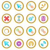 Click cursors icons circle. Gold in cartoon style isolate on white background vector illustration Stock Photo