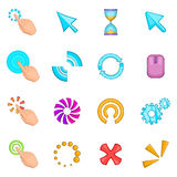 Click cursors icons set, cartoon style. Click cursors icons set. Cartoon illustration of 16 Click cursors vector icons for web Stock Photography