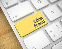 Click Fraud - Message on Yellow Keyboard Key. 3D. Royalty Free Stock Photos