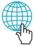 Click on glob. Click symbol on glob nice line drawing logo Royalty Free Stock Photo