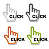 Click hand cursor stickers vector illustration
