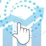 Click, hand and graph on blue background Royalty Free Stock Image