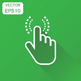 Click hand icon. Business concept cursor finger pictogram. Vecto. R illustration on green background with long shadow Stock Images