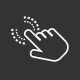 Click hand icon. Cursor finger sign flat vector. Illustration on black background Stock Images