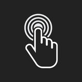Click hand icon. Cursor finger sign flat vector. Illustration on black background Royalty Free Stock Photography