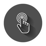 Click hand icon. Cursor finger sign flat vector. Illustration with long shadow Royalty Free Stock Photos