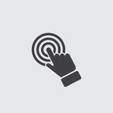 Click hand icon in a flat design in black color. Vector illustration eps10. Click  hand icon in a flat design in black color. Vector illustration eps10 Stock Photos