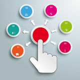 Click Hand Push Buttons 6 Consequences. Mouse hand and 6 buttons on the grey background Royalty Free Stock Photos