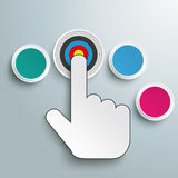 Click Hand Push Buttons 3 Options Target. Mouse hand and 3 buttons and target on the grey background Royalty Free Stock Photos